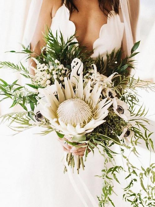 White Protea Wedding Bouquet