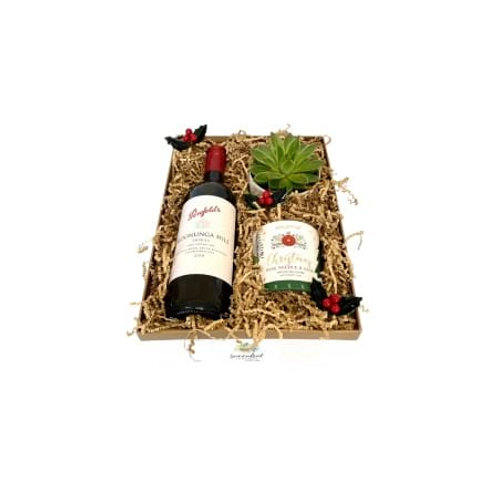 SUBTLE HAMPER (RED WINE, SUCCULENT, CANDLE)