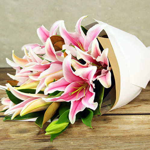 Lush Pink Oriental Lily Bouquet