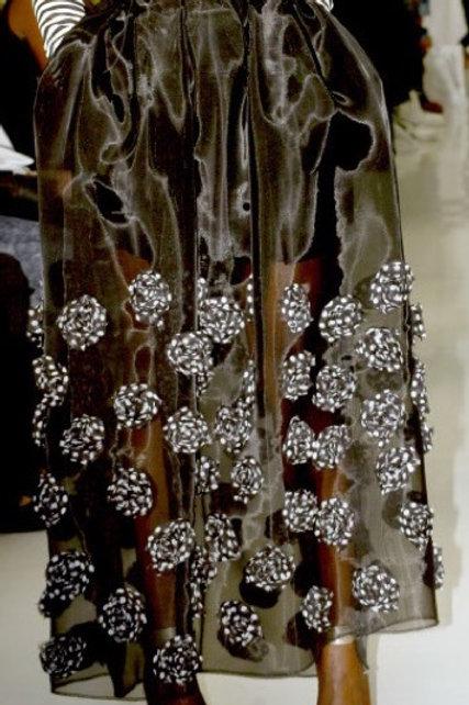 Sheer Mesh Floral Skirt