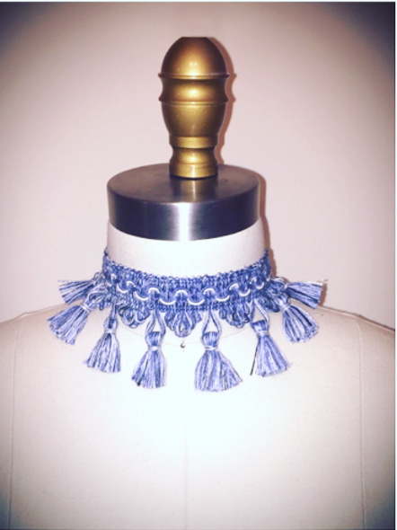 Denim Tassel Choker