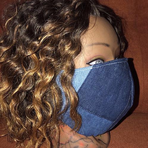 Denim Patchwork Fashion Mask