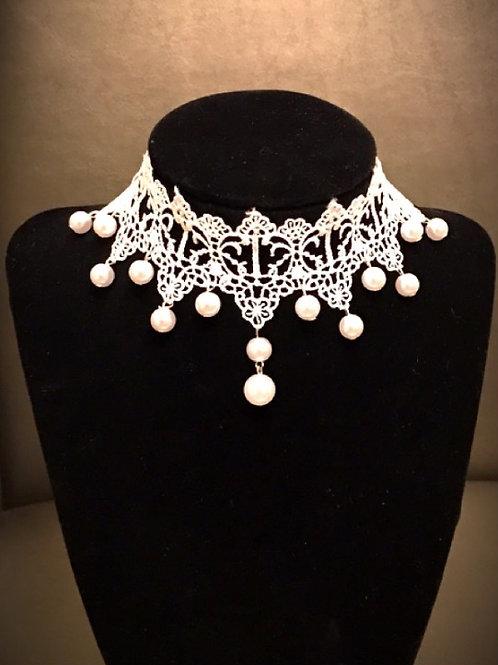 White lace pearl Choker