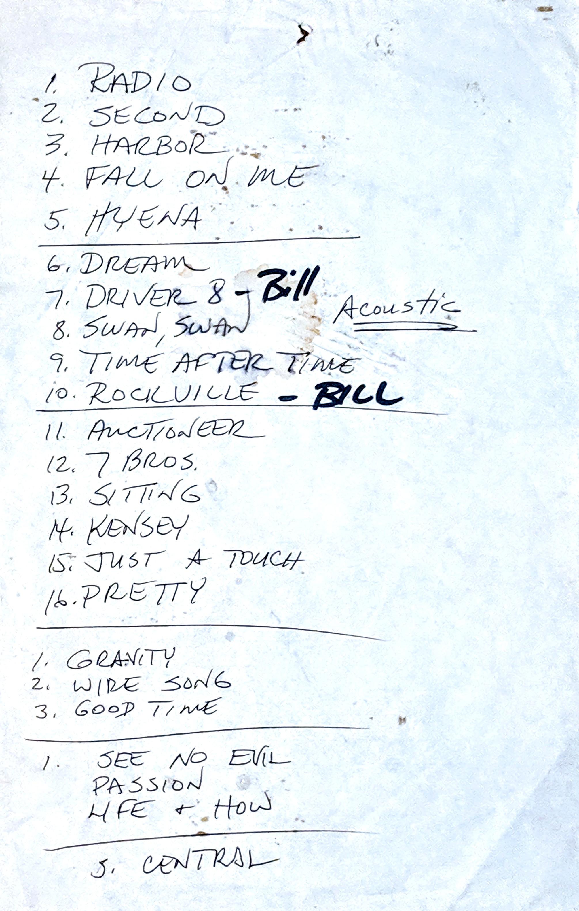 D Boon setlist 1-20-86