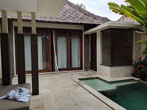 from the private pool to the room--an outdoor shower