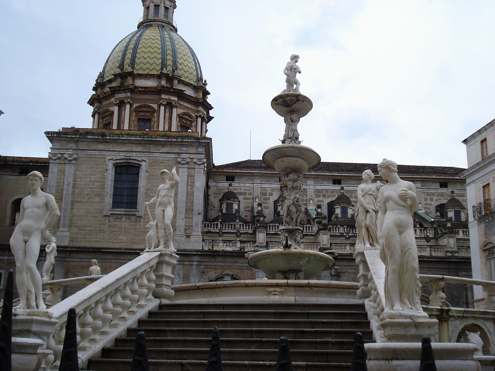 View of ancient sculptures and architecture in Sicily
