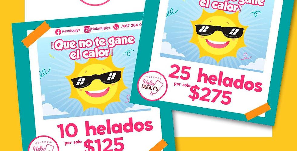 Paquete de 10 Helados Heladugly's