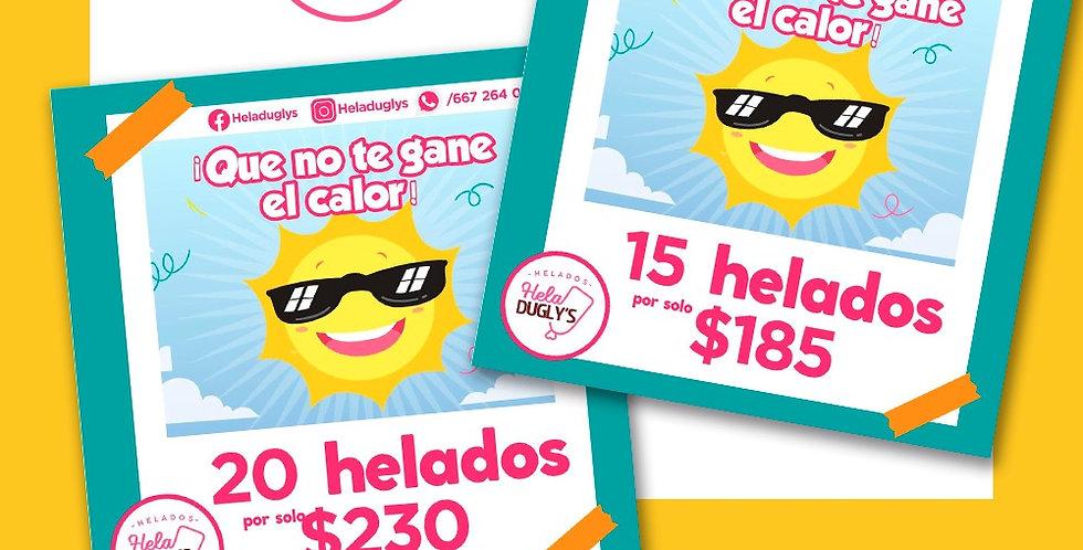 Paquete de 15 Helados Heladugly's