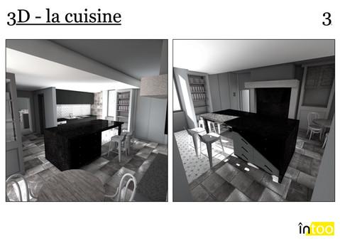 cuisine ouverte avec ilôt central