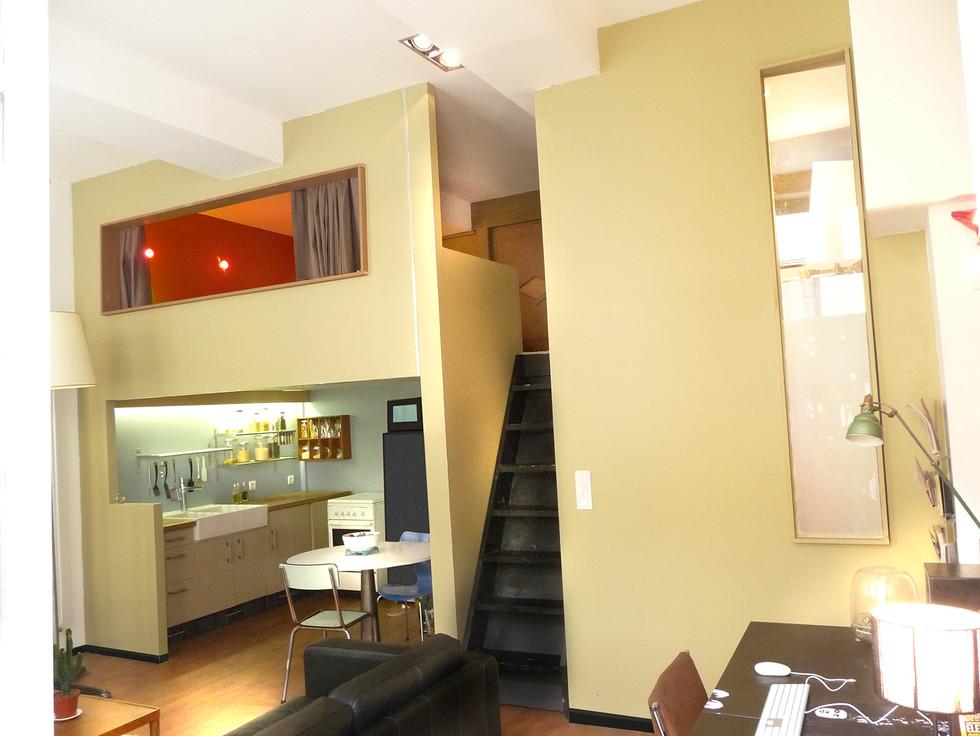 csuine sous mezzanine avec sol parquet