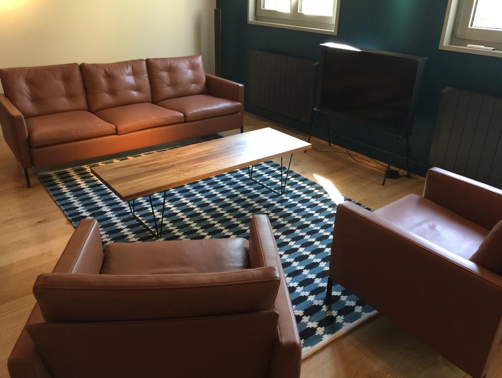 salon cosy avec mobilier cuir