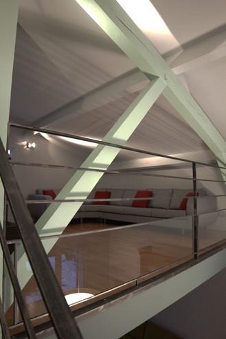 Architecture interieure du salon et de la mezzanine