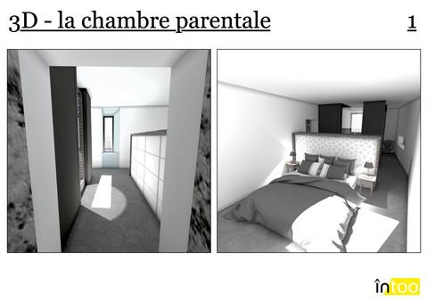 chambre parentale ouverte avec percées de lumière