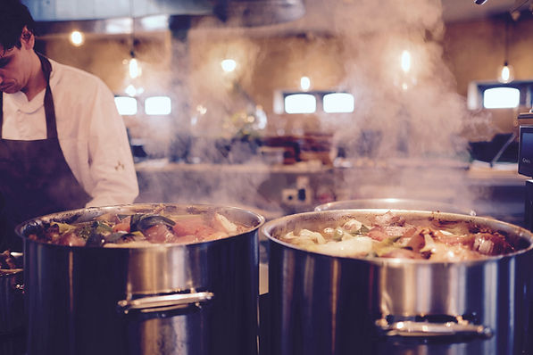 Food Cooking in Steaming Pots