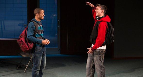 B (Nicholas L. Ashe) hangs out with Simon (Samuel H. Levine).
