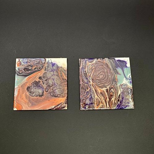 Metallic Acrylic Pour Coaster Sets