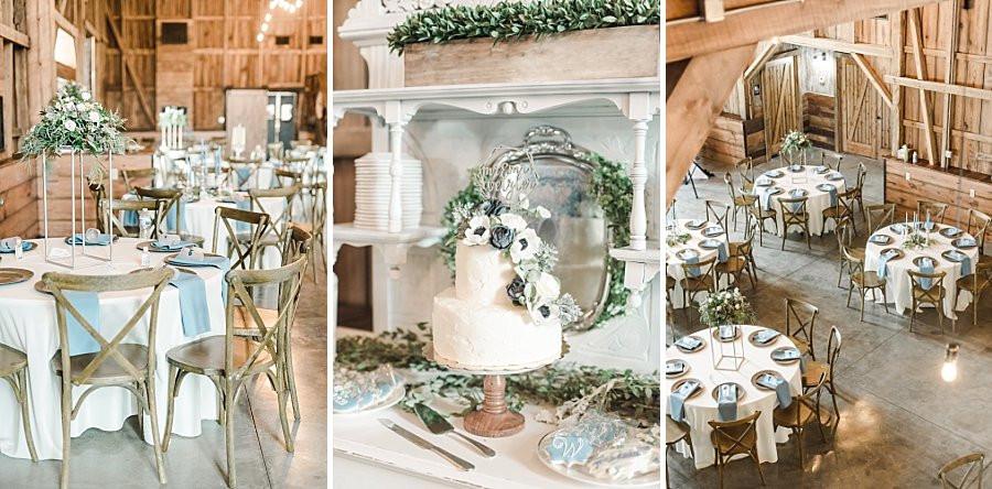 Blue and gray rustic barn wedding reception