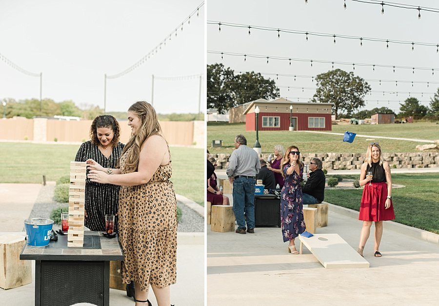 wedding guest playing yard games at outdoor wedding reception