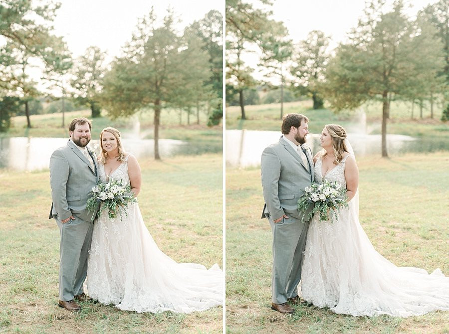 bride and groom embrace after outdoor summer wedding