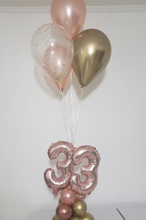 Arranjo de Mesa Balões Hélio com números