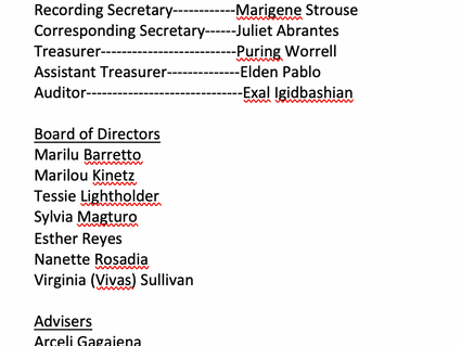 Congratulations to the Newly Elected Officers!