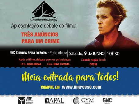 """Cinepsiquiatria exibe """"Três Anúncios para um Crime"""""""