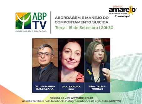 """ABPTV debate """"Abordagem e manejo do comportamento suicida""""no próximo programa"""