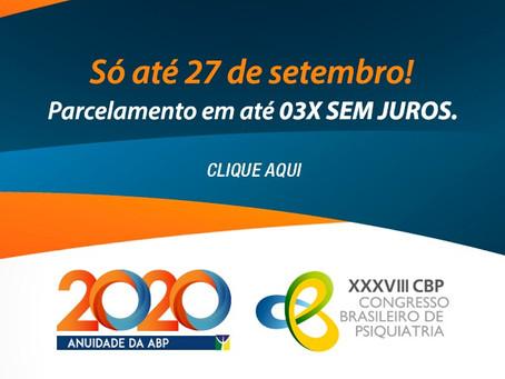Anuidade 2020 + CBP: até 27 de setembro, com parcelamento em 3x. Aproveite!