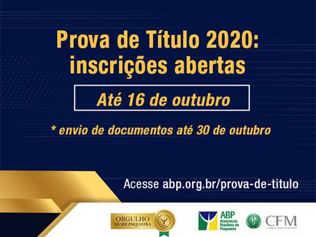 Prova de Título 2020: inscrições abertas até 16 de outubro