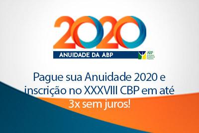 Pague sua Anuidade 2020 e inscrição no XXXVIII CBP em até 3x sem juros