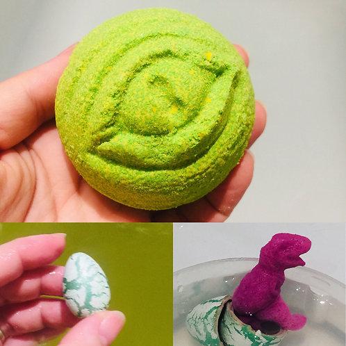 Dinosaur Egg Toy Bath Bomb- Mint and Jasmine