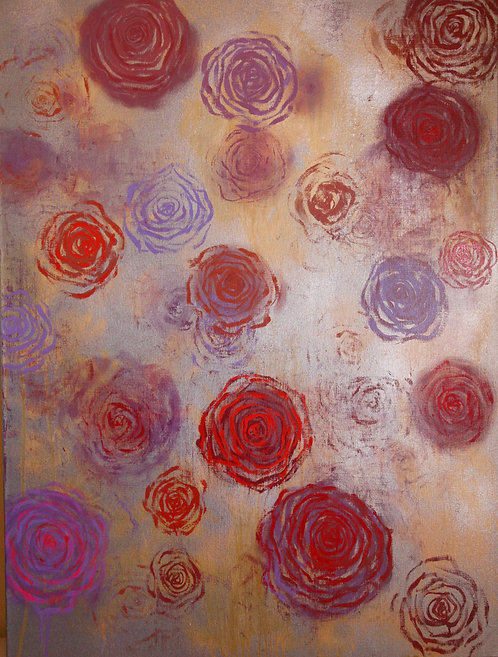 contemporary abstract painting (color field) of roses