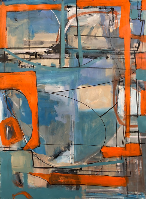 colorful, expressive contemporary landscape painting by Santa Fe Artist Norma Alonzo