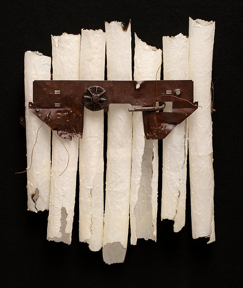 Contemporary art: construction made of handmade paper and found objects