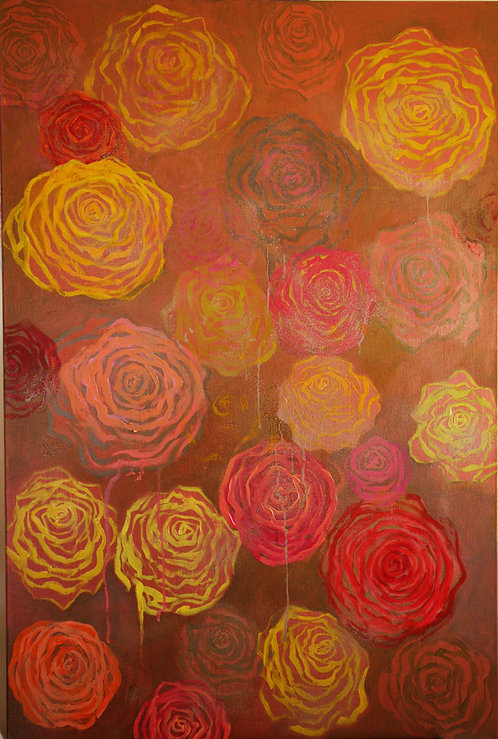colorful, contemporary abstract color field painting depicting flowers by artist Laurinda Stockwell