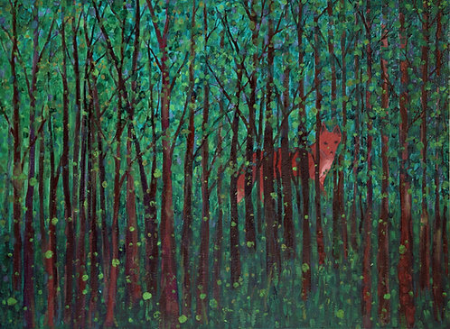 Red Fox with Fireflies