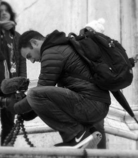 Rodney Habib shooting film in Italy Black and White