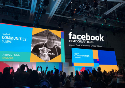 Rodeny Habib on stage at Facebook HQ