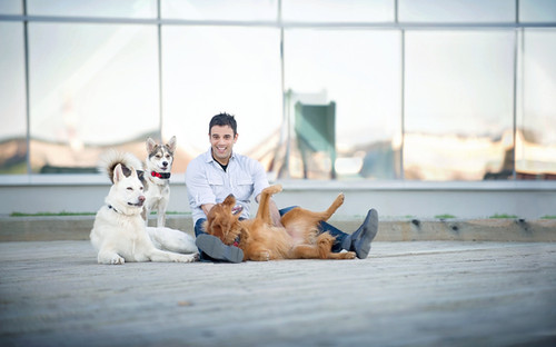 Rodney Habib and his dogs