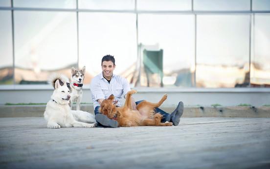 Rodney Habib and his dogs