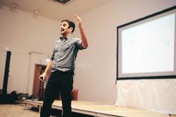 Rodney Habib on stage presenting