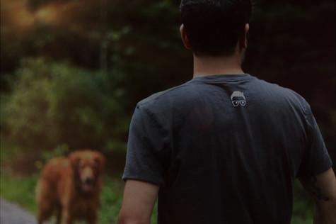 Rodney Habib taking his dog for a walk