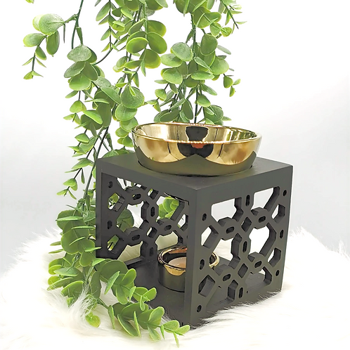Eastern Black Wood & Gold Ceramic wax burner