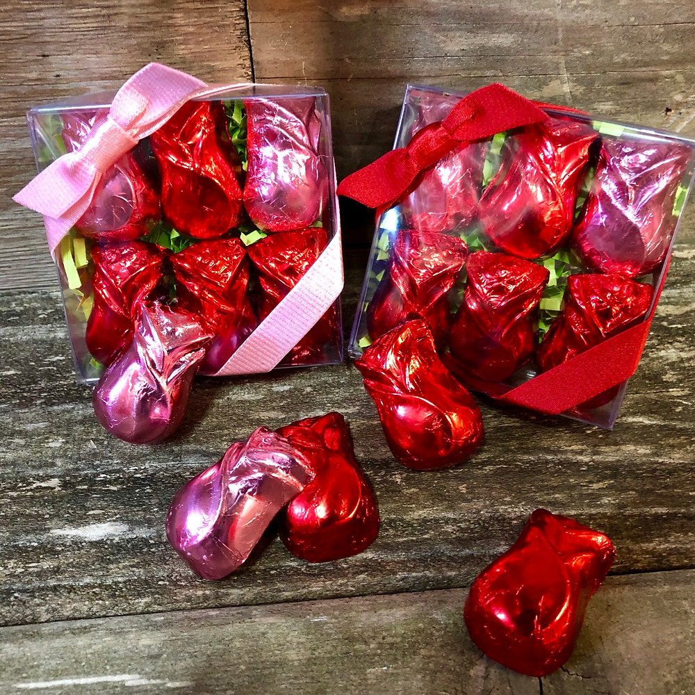 Foil-covered chocolate roses