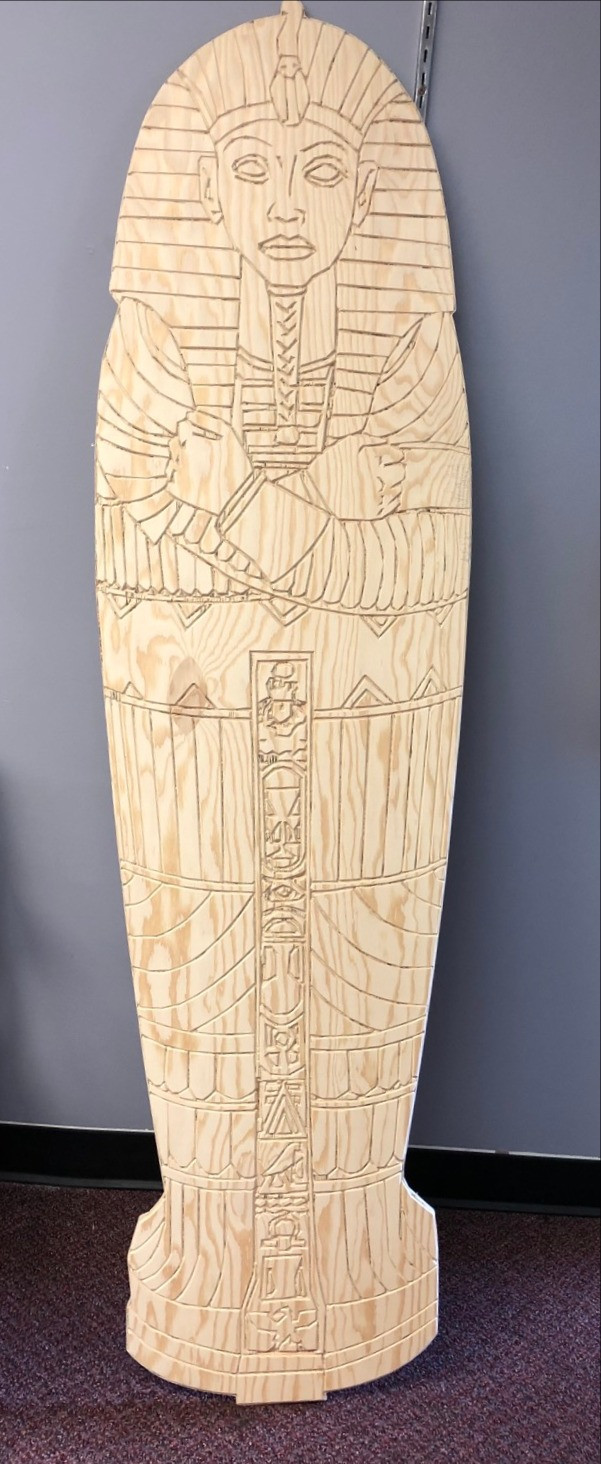 Wood-carved sarcophagus