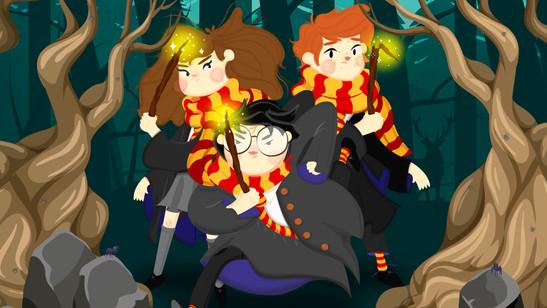 Germione, Harry y ron en el bosque prohibido