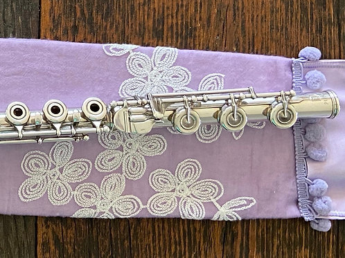 Flute Mat, lavender cotton and embroidery