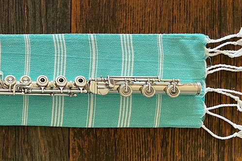 Flute Mat, teal and white, linen