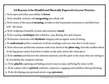 12 Reasons for Mindful Musical Practice.