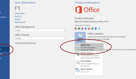 How to update Office 2016 and newer Programs